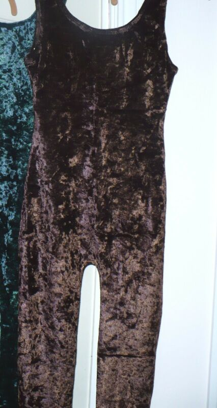 Brown chocolate MD Crushed velvet Tank Unitard Leotard w/ legs very STRETCHY NEW