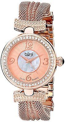 NEW Burgi BUR110RG Women's Mother Of Pearl Rose Gold Crystal Bezel Mesh Watch