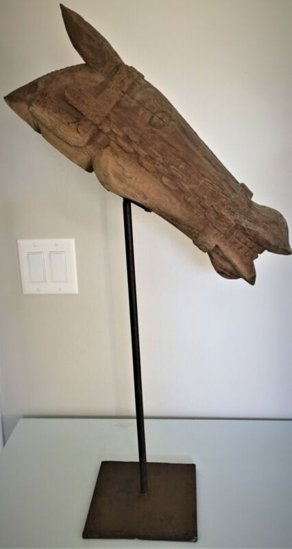Hand Carved Horse Head Statue