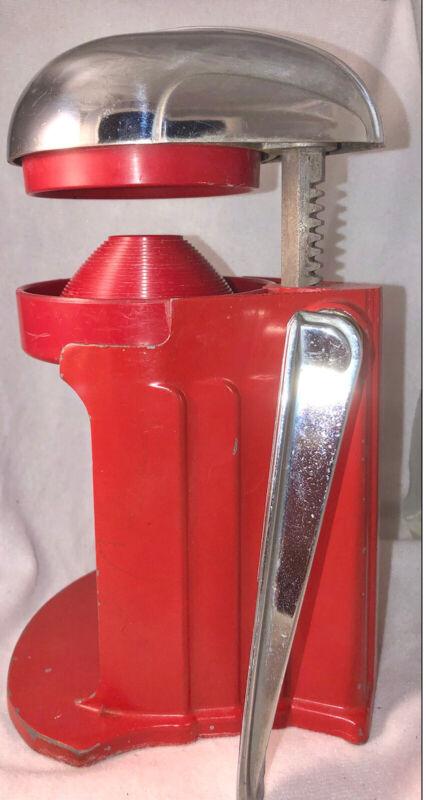 Vintage Juice-O-Mat Hand Press Citrus Juicer - Chrome & Red