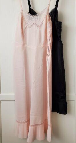 2 Vintage Barbizon Endear Tafredda Full Slip Miss 16, Pleat Hem, Pink, Black 40