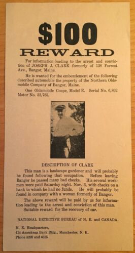 1927 BANGOR ME WANTED POSTER OLDSMOBILE COUPE Model E EMBEZZLEMENT Bangor Maine