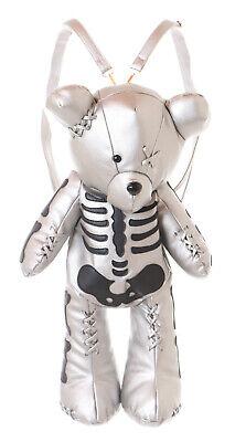 Kunstleder Zombie Skelett Teddy Bär Tasche Rucksack Lolita (Skelett Rucksack)