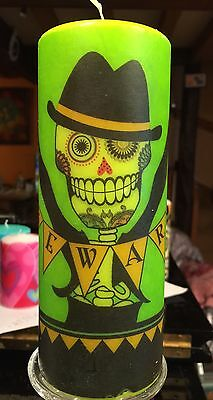 634a4effe8a DAY OF THE DEAD SUGAR SKULL Hand Decorated On GreenCoated PILLAR CANDLE  18x6.5cm