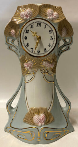 "ROYAL DUX Bohemia Hand Painted Porcelain ART NOUVEAU 13"" Mantel Clock Quartz"