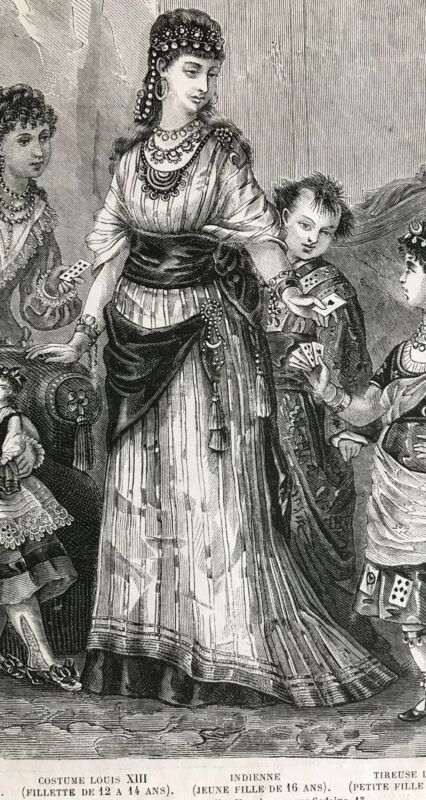 MODE ILLUSTREE SEWING PATTERN  Feb 6, 1876- MASQUERADE COSTUME, HOUSECOAT, DRESS