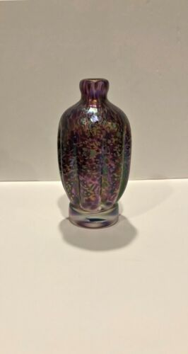 "David Tate signed art glass vase Purple iridescent design 5 1/2"" dated 1998"