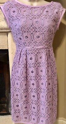 ELIE TAHARI  Women's Lavender Lace Sheath Cocktail Dress Cap Sleeve  Size 4 NWOT ()