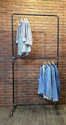 Clothing Rack Heavy Duty Double Row Industrial Pipe Rack Garment Pipe Rack Black