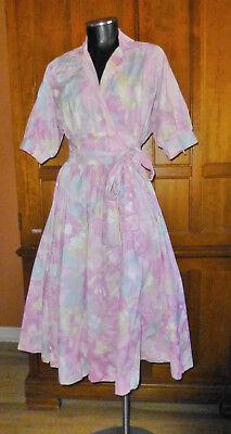 80s Dresses | Casual to Party Dresses Vtg 80s Pastel Print COTTON Wrap Full Skirt Dolman Slv Garden Tea Party DRESS $59.49 AT vintagedancer.com