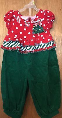 NWT Girls Bonnie Baby 12 Months Romper Christmas Outfit Red Green - Bonnie Baby Christmas Outfits