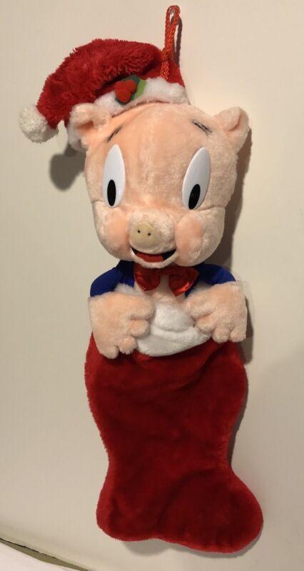 Vintage 1990 Warner Bros PORKY PIG Plush Christmas Stocking