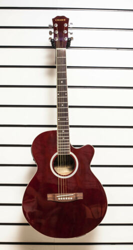 Chase SW206CETR Electro Acoustic Guitar Small Body Folk Cutaway Red Burgundy -Z0
