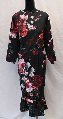 Boohoo Women's Plus Floral Ruffle Hem Midi Dress HD3 Black Size UK:16 US:12 NWT
