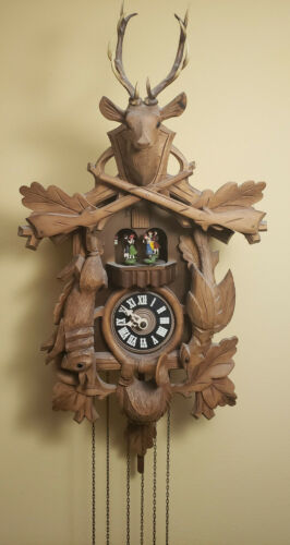 Vintage German Carved Black Forest 3 Weight Musical Automaton Cuckoo Wall Clock