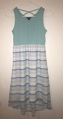 Nautica blue and white striped sleeveless sundress dress, lined. girls 10