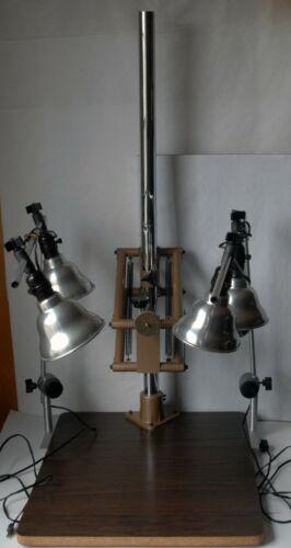 "Testrite CS-4 Copy Stand 19"" x 24"" Baseboard 38"" Column with Model 45 Lights USA"