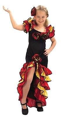 Rumba Girls Spanish Flamenco Dancer Party Salsa Fancy Dress Costume Age 4 - - Flamenco Girls