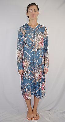 Vintage 70's Disco Blue Flower Print Secretary Dress by NPC Fashions Size L/XL