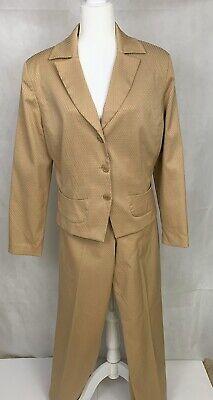 Levine Classics Larry Levine 2 Pc. Pant Suit 16 Golden Tan Honycomb Fabric 395
