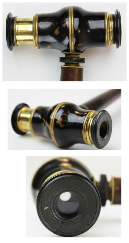 Antique Walking Cane with a Monocular Handle