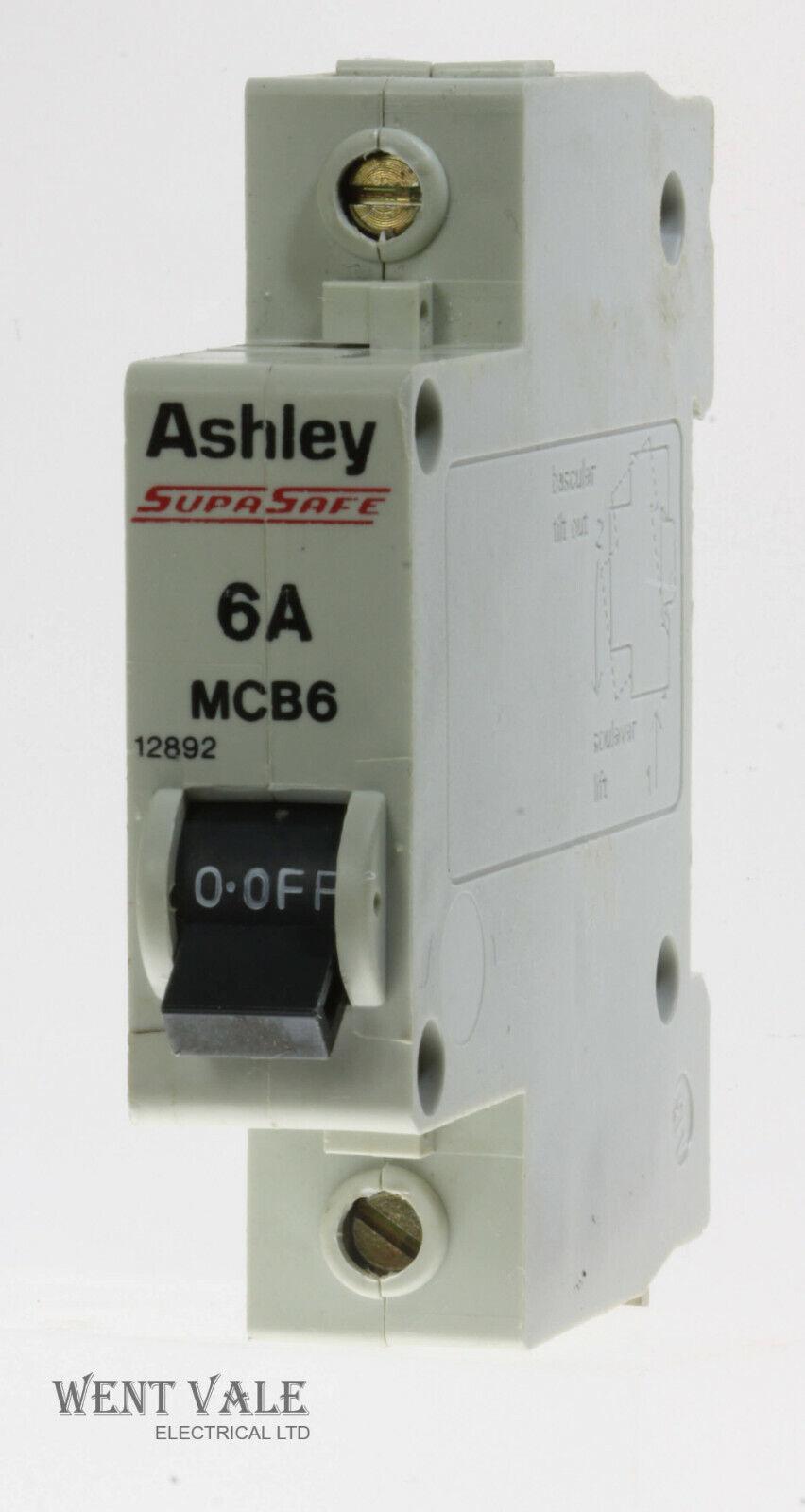 Ashley SupaSafe - MCB6/12892 - 6a Type 1 Single Pole MCB Used