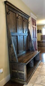 Rustic entrance bench.