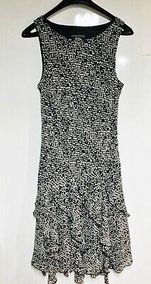 Jessica Howard Dress with Tiered Handkerchief Hem-Sz 12-Black & White-Worn Once (Dress With Handkerchief Hem)