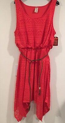FADED GLORY Bright Coral Spring/Summer Tank Dress with Handkerchief Hem 3X NWT (Dress With Handkerchief Hem)
