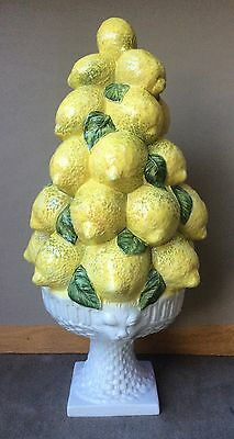 "Beautiful 16"" Porcelain Bowl of Lemons Center Piece -  Hand Painted in Italy"