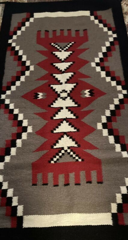 "El Paso Southwestern Rug/Saddle Blanket (32""x64"") 90% Wool Gray,Red,Black, White"