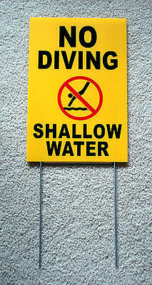 No Diving Shallow Water Wsymbol 8 X12 Plastic Coroplast Sign Wstake Yellow