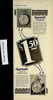 1928 Ingersoll Yankee Alarm Clock Pocket Watch Vintage Print Ad 4339