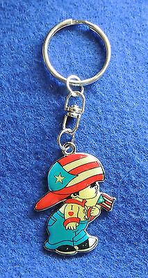 Metal Key Chain Ring USA Child w/ American Flag & Red White Blue Hat Patriotic