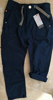 NEW Next Adjustable Waist Linen Trousers Rolls Leg Navy Boys Size 7 Years - Boys Navy Linen Trousers