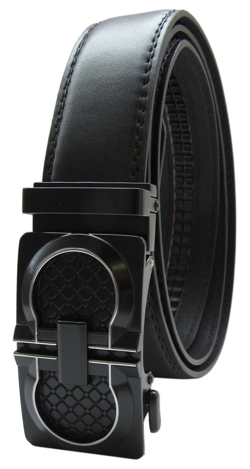 Automatic Ratchet Click Lock Buckle Black Leather Belt Italian Design Buckle B46 Belts