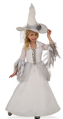 White Witch Costume Kids (Girls White Witch Costume Dress & Hat Combo Mystical Fancy Child Size L)