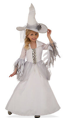 Girls White Witch Costume Dress & Hat Combo Mystical Fancy Child Size L 12-14 - White Witch Kids Costume