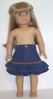 Doll Clothes for 18 inch Doll Made For American Girl Doll Ruffled Denim Skirt