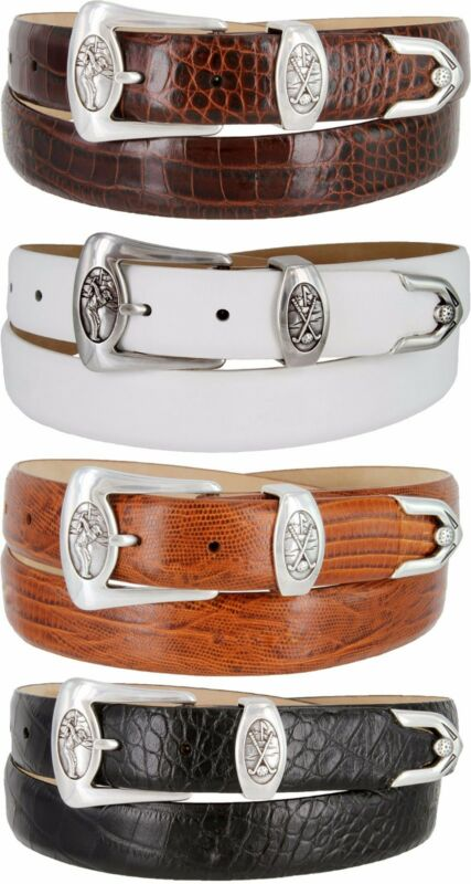 "Monterey - Mens Genuine Leather Italian Calfskin Golf Dress Belt, 1-1/8"""