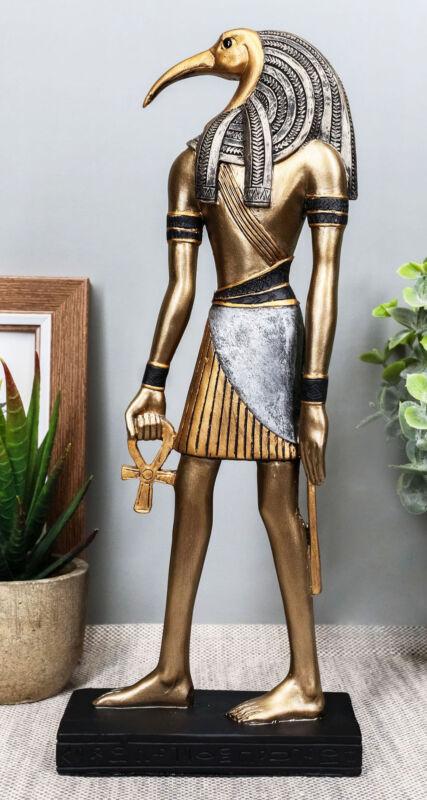 "Classical Egyptian God Thoth Holding Ankh Slim Profile Bronzed Figurine 10"" H"