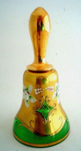 Egermann Bohemian Crystal Green and Gold Hand Painted Bell Czech Republic