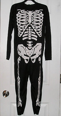 Halloween Theatre Boys Costume, Black White Skeleton Body Suit Size M 8-10