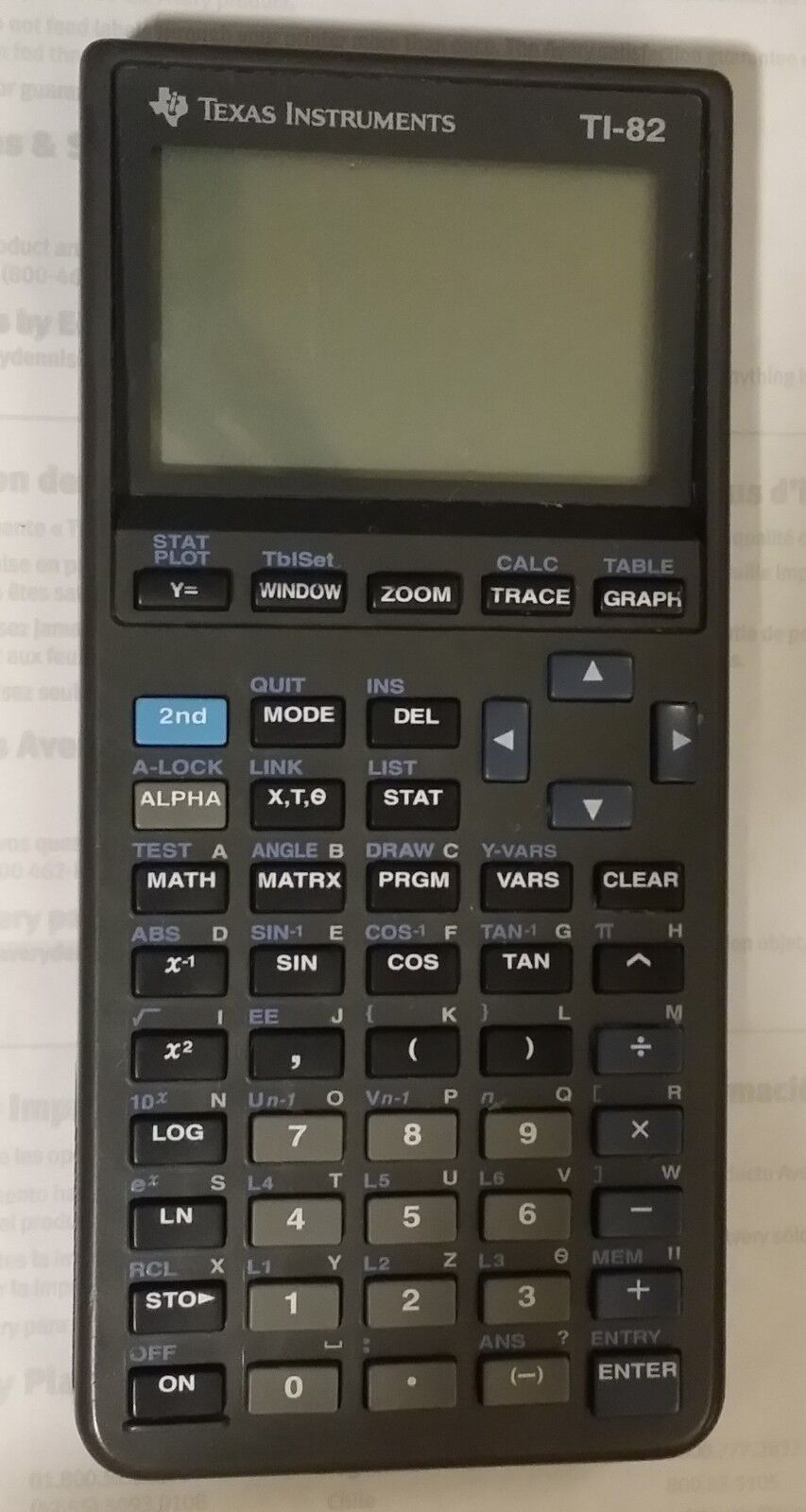 Texas Instruments TI-82 Graphing Calculator for Parts Repair