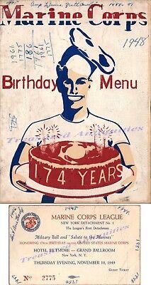 1949 US Marine Corps 174 Birthday Dinner Menu NYC Hotel Biltmore Ballroom Ticket