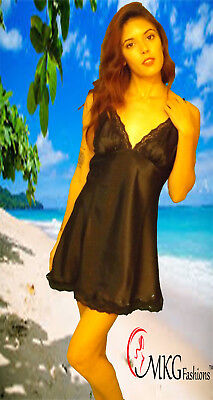 MKG Fashions Smooth and Sexy Lace Chemise w/ Matching Lace