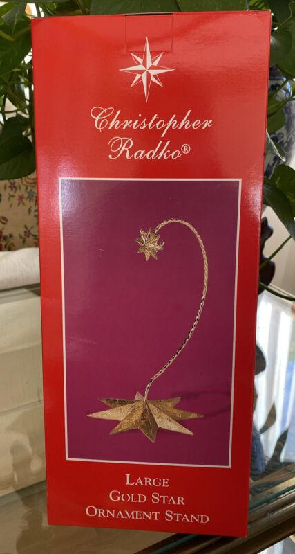 NEW Christopher Radko Large Gold Star Ornament Hanger Stand