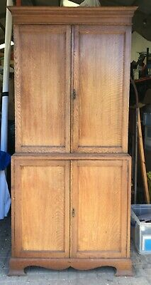 Vintage Oak Cupboard linen storage kitchen