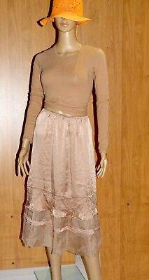 jupe longue 100% soie nude femme 38