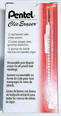 New Pentel Clic Non-abrasive Retractable 12-pack White Eraser Red Barrel Ze21b